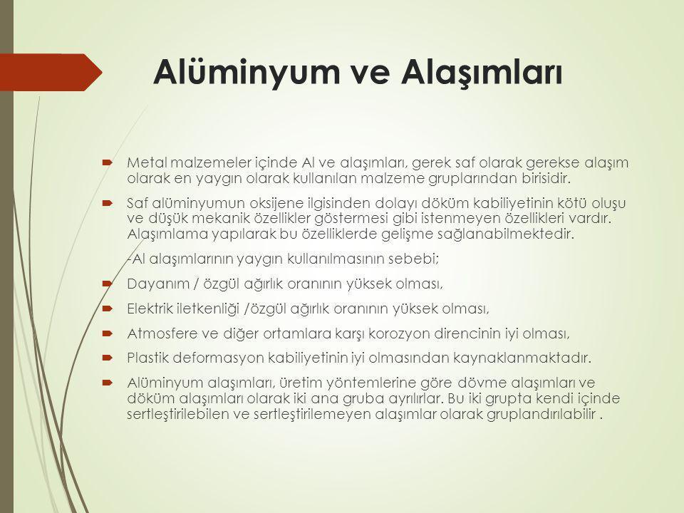 Alüminyum ve Alaşımları  Metal malzemeler içinde Al ve alaşımları, gerek saf olarak gerekse alaşım olarak en yaygın olarak kullanılan malzeme gruplar