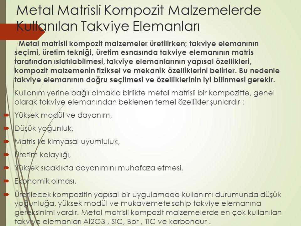 Metal Matrisli Kompozit Malzemelerde Kullanılan Takviye Elemanları Metal matrisli kompozit malzemeler üretilirken; takviye elemanının seçimi, üretim t