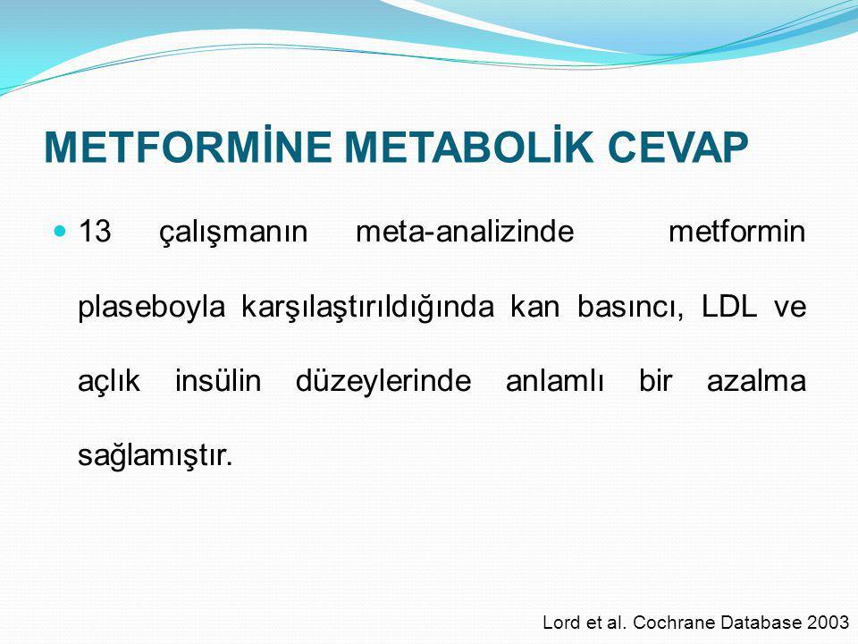 METFORMİNE METABOLİK CEVAP 13 çalışmanın meta-analizinde metformin plaseboyla karşılaştırıldığında kan basıncı, LDL ve açlık insülin düzeylerinde anla