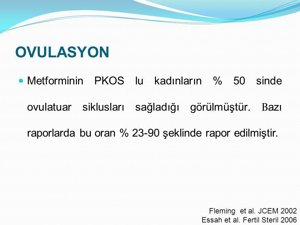 OVULASYON Metforminin PKOS lu kadınların % 50 sinde ovulatuar siklusları sağladığı görülmüştür. B azı raporlarda bu oran % 23-90 şeklinde rapor edilmi