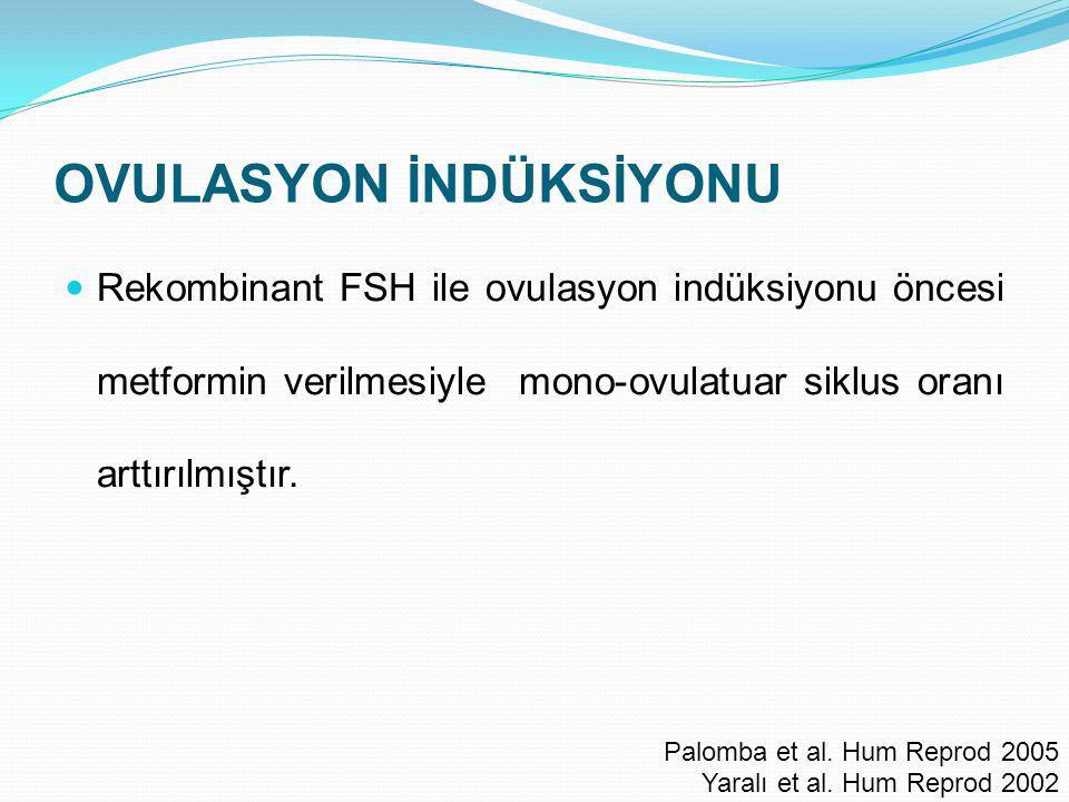 OVULASYON İNDÜKSİYONU Rekombinant FSH ile ovulasyon indüksiyonu öncesi metformin verilmesiyle mono-ovulatuar siklus oranı arttırılmıştır. Palomba et a