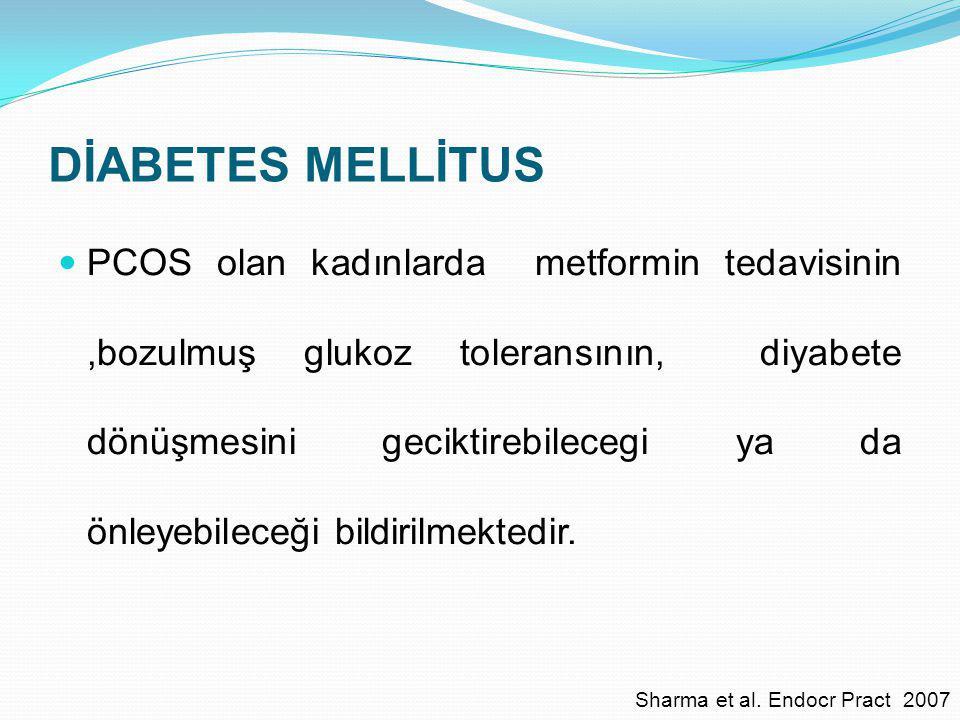 DİABETES MELLİTUS PCOS olan kadınlarda metformin tedavisinin,bozulmuş glukoz toleransının, diyabete dönüşmesini geciktirebilecegi ya da önleyebileceği