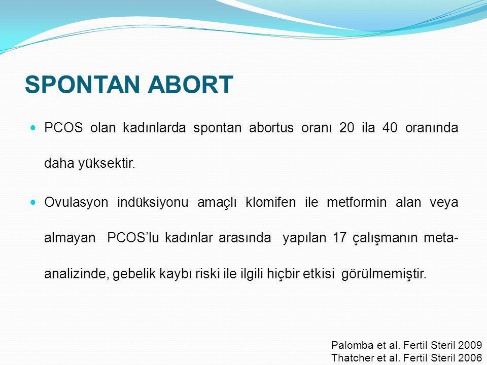 SPONTAN ABORT PCOS olan kadınlarda spontan abortus oranı 20 ila 40 oranında daha yüksektir. Ovulasyon indüksiyonu amaçlı klomifen ile metformin alan v