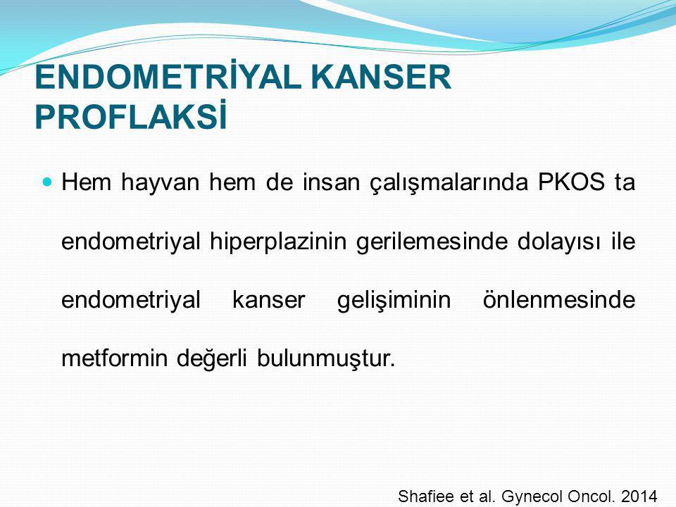 ENDOMETRİYAL KANSER PROFLAKSİ Hem hayvan hem de insan çalışmalarında PKOS ta endometriyal hiperplazinin gerilemesinde dolayısı ile endometriyal kanser
