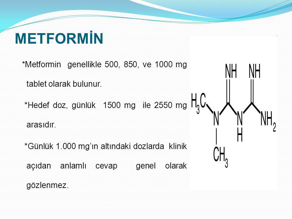 METFORMİN *Metformin genellikle 500, 850, ve 1000 mg tablet olarak bulunur. *Hedef doz, günlük 1500 mg ile 2550 mg arasıdır. *Günlük 1.000 mg'ın altın