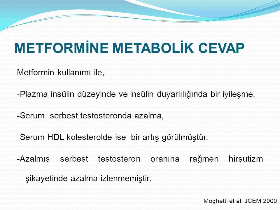 METFORMİNE METABOLİK CEVAP Metformin kullanımı ile, -Plazma insülin düzeyinde ve insülin duyarlılığında bir iyileşme, -Serum serbest testosteronda aza