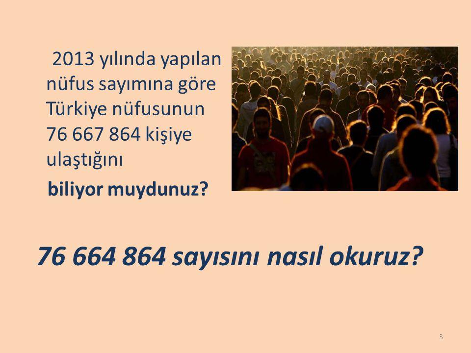 76 664 864 4 Milyonlar Bölüğü sayımızı okurken bu basamaktaki sayının sonuna milyon ifadesi ekliyoruz.