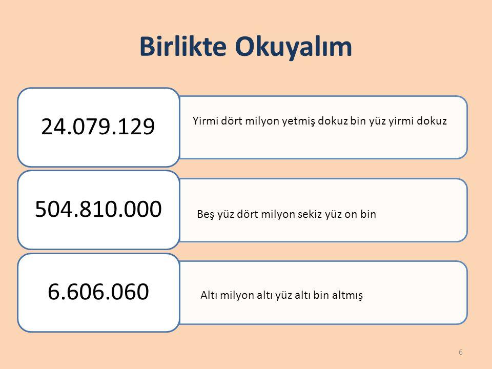 Birlikte Okuyalım 6 24.079.129504.810.0006.606.060 Yirmi dört milyon yetmiş dokuz bin yüz yirmi dokuz Beş yüz dört milyon sekiz yüz on bin Altı milyon
