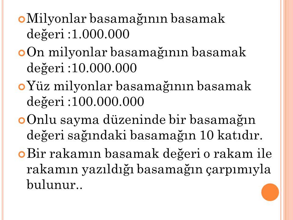 Milyonlar basamağının basamak değeri :1.000.000 On milyonlar basamağının basamak değeri :10.000.000 Yüz milyonlar basamağının basamak değeri :100.000.