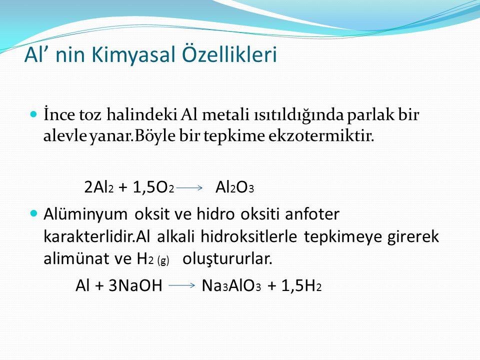 Al' nin Kimyasal Özellikleri İnce toz halindeki Al metali ısıtıldığında parlak bir alevle yanar.Böyle bir tepkime ekzotermiktir. 2Al 2 + 1,5O 2 Al 2 O