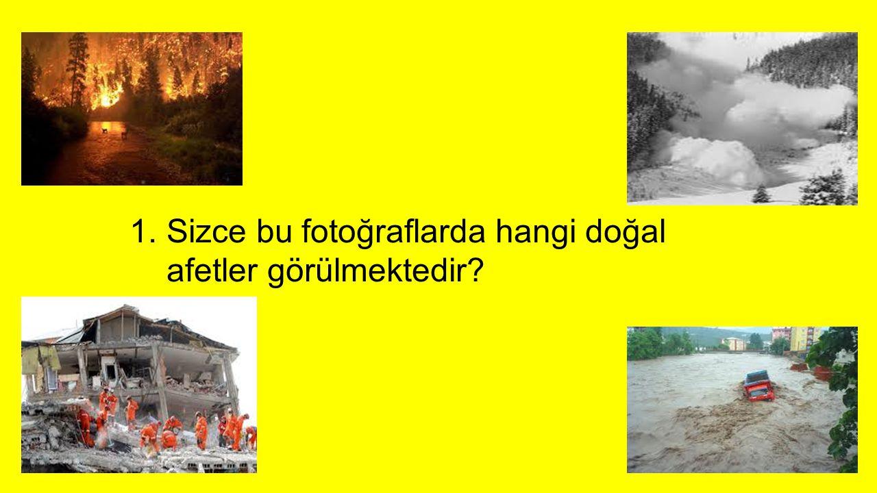 1.Sizce bu fotoğraflarda hangi doğal afetler görülmektedir?