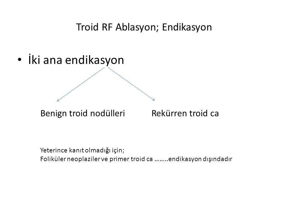 Troid RF Ablasyon; Endikasyon İki ana endikasyon Benign troid nodülleriRekürren troid ca Yeterince kanıt olmadığı için; Foliküler neoplaziler ve prime