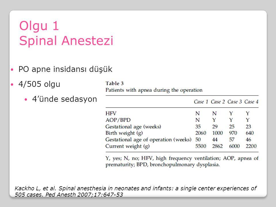 Olgu 1 Spinal Anestezi PO apne insidansı düşük 4/505 olgu 4'ünde sedasyon Kackho L, et al. Spinal anesthesia in neonates and infants: a single center