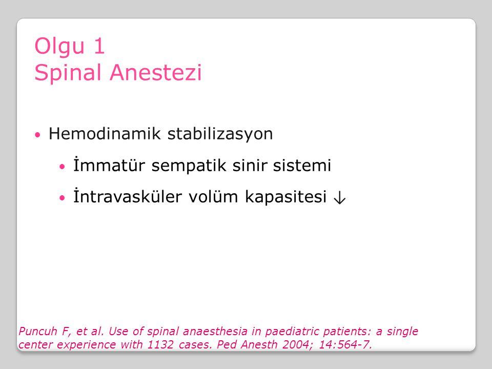 Olgu 1 Spinal Anestezi Hemodinamik stabilizasyon İmmatür sempatik sinir sistemi İntravasküler volüm kapasitesi ↓ Puncuh F, et al. Use of spinal anaest