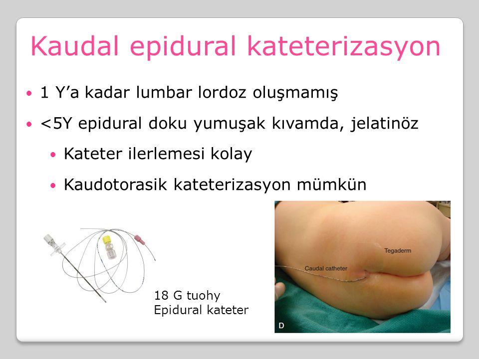 Kaudal epidural kateterizasyon 1 Y'a kadar lumbar lordoz oluşmamış <5Y epidural doku yumuşak kıvamda, jelatinöz Kateter ilerlemesi kolay Kaudotorasik