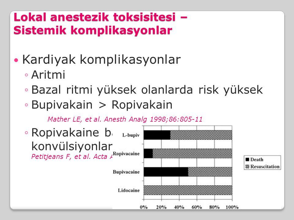 Lokal anestezik toksisitesi – Sistemik komplikasyonlar Kardiyak komplikasyonlar ◦Aritmi ◦Bazal ritmi yüksek olanlarda risk yüksek ◦Bupivakain > Ropiva