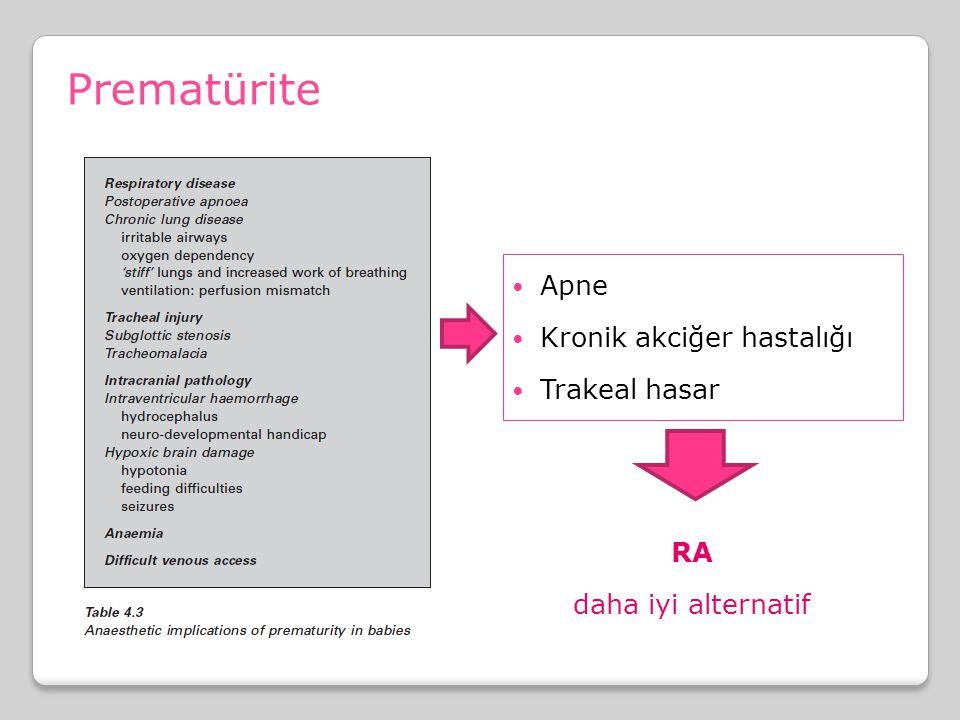 Apne Kronik akciğer hastalığı Trakeal hasar Prematürite RA daha iyi alternatif