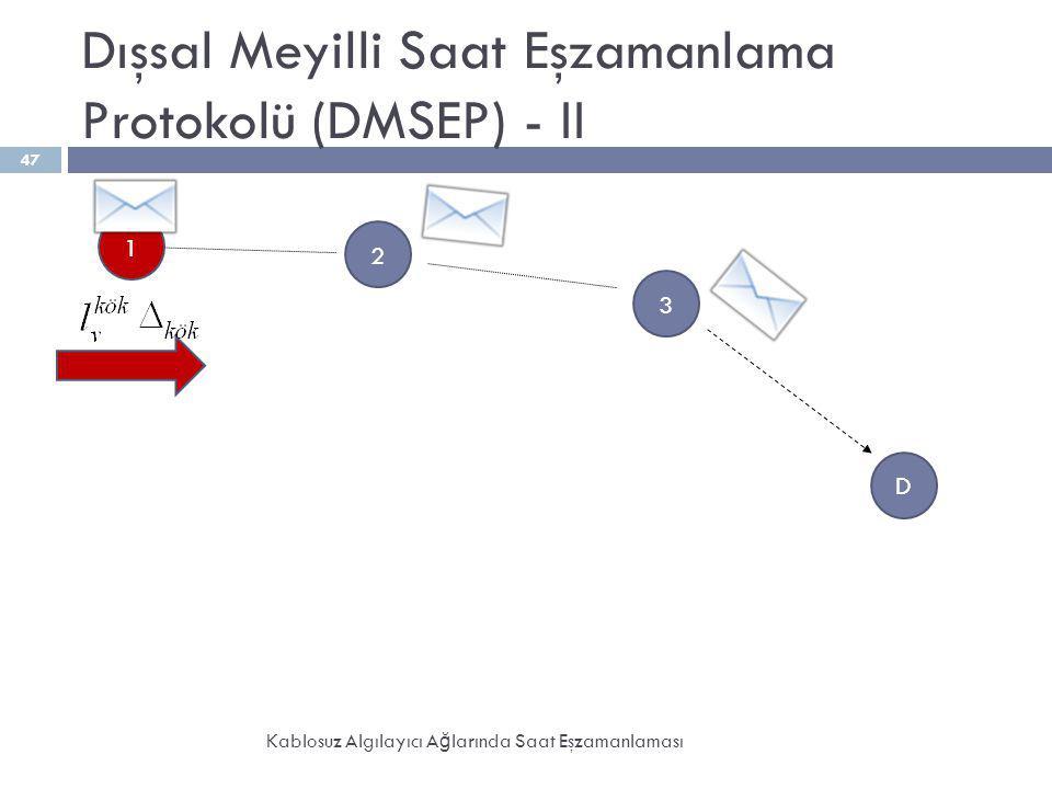 Dışsal Meyilli Saat Eşzamanlama Protokolü (DMSEP) - II Kablosuz Algılayıcı A ğ larında Saat Eşzamanlaması 47 2 3 1 D