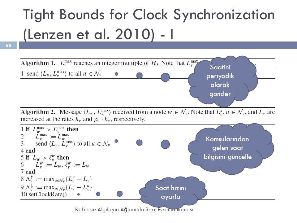 Tight Bounds for Clock Synchronization (Lenzen et al. 2010) - I Kablosuz Algılayıcı A ğ larında Saat Eşzamanlaması 60 Saatini periyodik olarak gönder