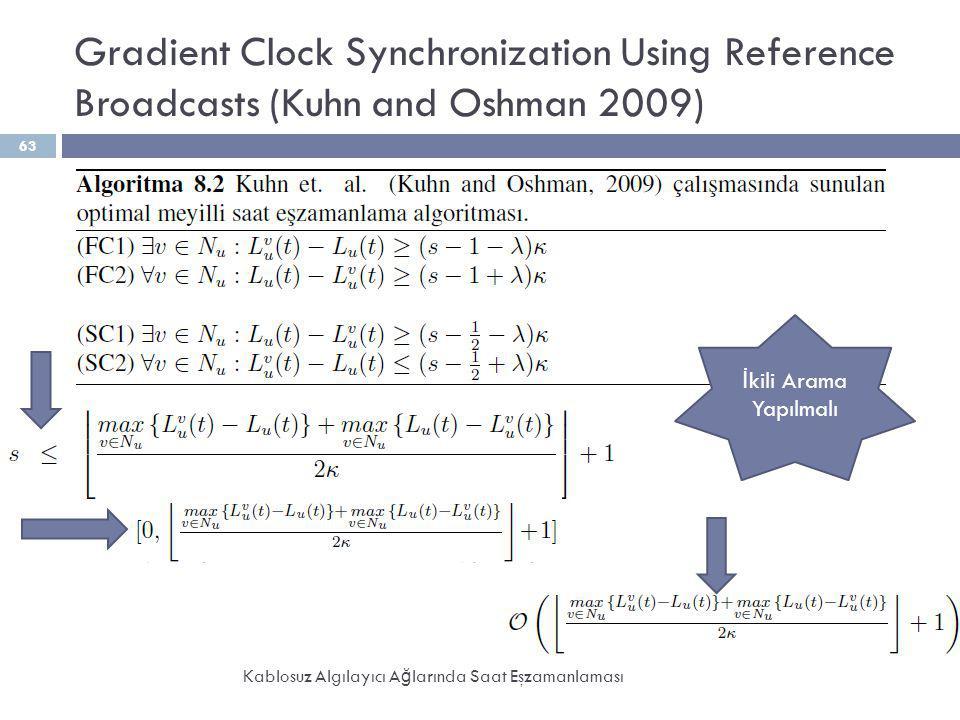 Gradient Clock Synchronization Using Reference Broadcasts (Kuhn and Oshman 2009) Kablosuz Algılayıcı A ğ larında Saat Eşzamanlaması 63 İ kili Arama Ya