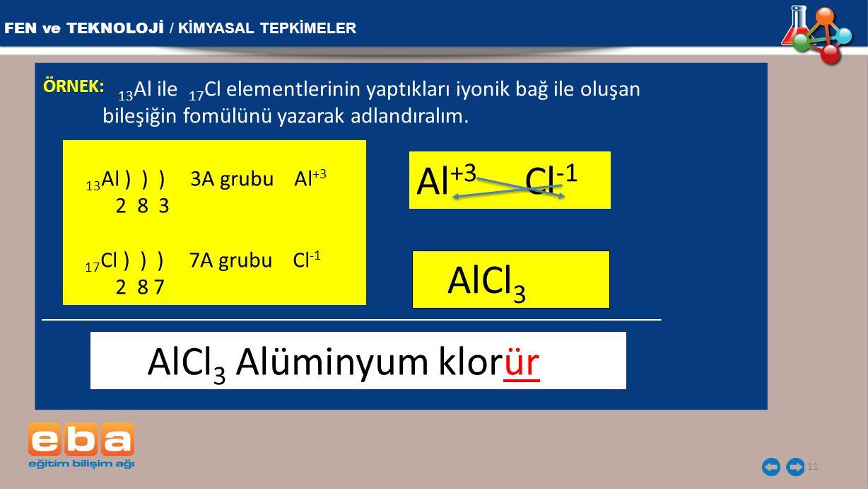 FEN ve TEKNOLOJİ / KİMYASAL TEPKİMELER 11 ÖRNEK: 13 Al ile 17 Cl elementlerinin yaptıkları iyonik bağ ile oluşan bileşiğin fomülünü yazarak adlandıral
