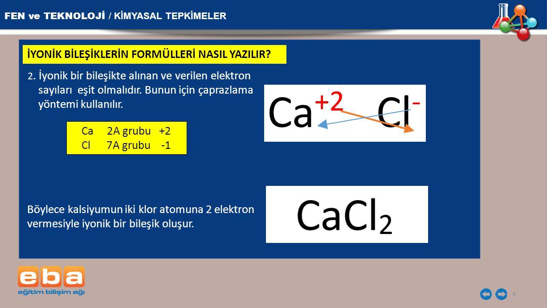 FEN ve TEKNOLOJİ / KİMYASAL TEPKİMELER 4 İYONİK BİLEŞİKLERİN FORMÜLLERİ NASIL YAZILIR? 2. İyonik bir bileşikte alınan ve verilen elektron sayıları eşi