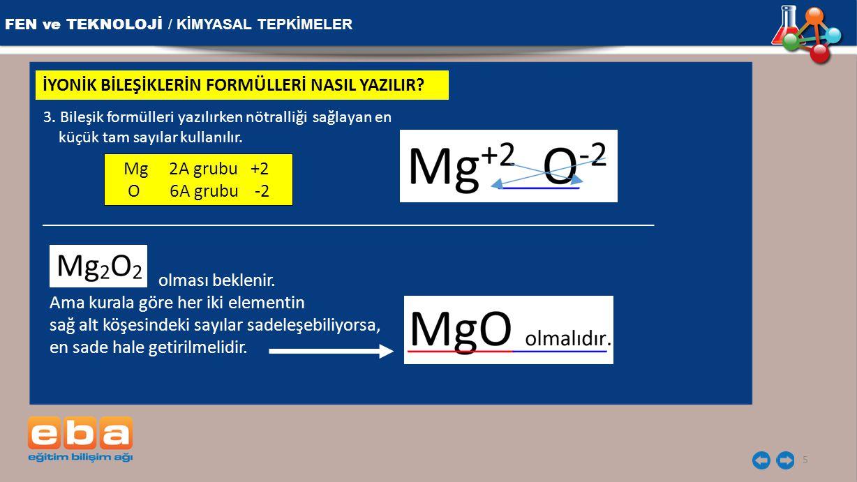 FEN ve TEKNOLOJİ / KİMYASAL TEPKİMELER 5 İYONİK BİLEŞİKLERİN FORMÜLLERİ NASIL YAZILIR? 3. Bileşik formülleri yazılırken nötralliği sağlayan en küçük t