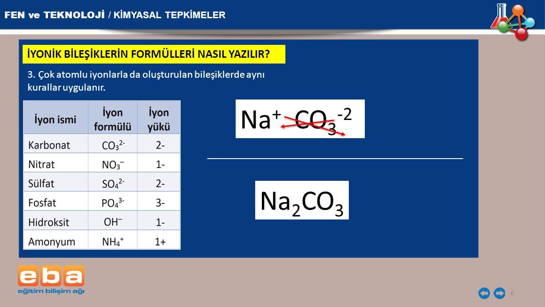 FEN ve TEKNOLOJİ / KİMYASAL TEPKİMELER 6 İYONİK BİLEŞİKLERİN FORMÜLLERİ NASIL YAZILIR? 3. Çok atomlu iyonlarla da oluşturulan bileşiklerde aynı kurall