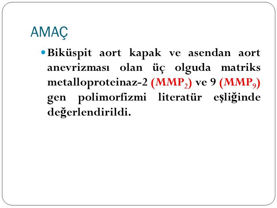 AMAÇ Biküspit aort kapak ve asendan aort anevrizması olan üç olguda matriks metalloproteinaz-2 (MMP 2 ) ve 9 (MMP 9 ) gen polimorfizmi literatür e ş l
