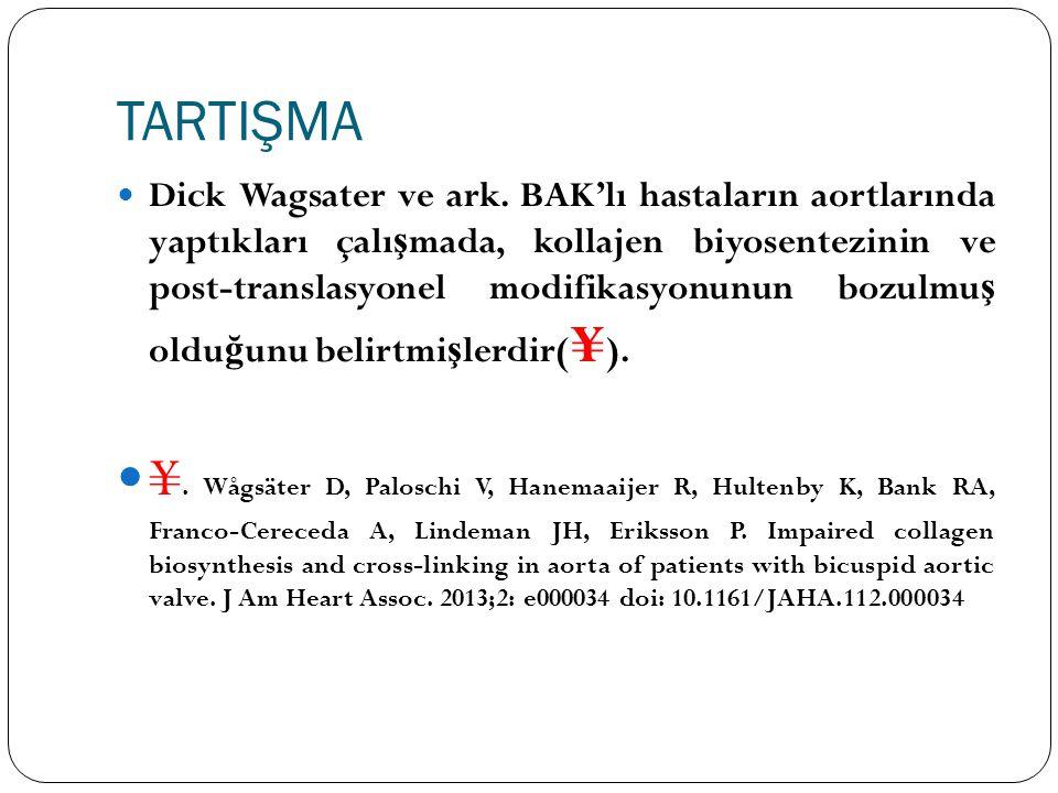 TARTIŞMA Dick Wagsater ve ark. BAK'lı hastaların aortlarında yaptıkları çalı ş mada, kollajen biyosentezinin ve post-translasyonel modifikasyonunun bo