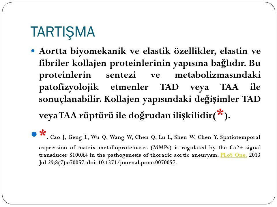 TARTIŞMA Aortta biyomekanik ve elastik özellikler, elastin ve fibriler kollajen proteinlerinin yapısına ba ğ lıdır. Bu proteinlerin sentezi ve metabol