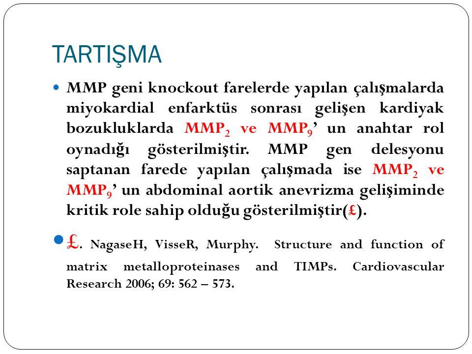 TARTIŞMA MMP geni knockout farelerde yapılan çalı ş malarda miyokardial enfarktüs sonrası geli ş en kardiyak bozukluklarda MMP 2 ve MMP 9 ' un anahtar