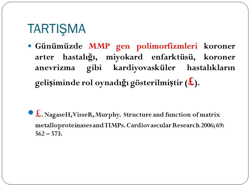TARTIŞMA Günümüzde MMP gen polimorfizmleri koroner arter hastalı ğ ı, miyokard enfarktüsü, koroner anevrizma gibi kardiyovasküler hastalıkların geli ş