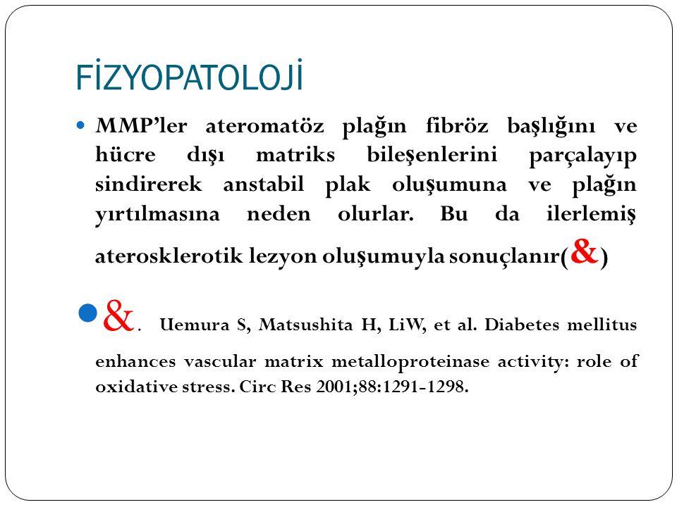 TARTIŞMA Günümüzde MMP gen polimorfizmleri koroner arter hastalı ğ ı, miyokard enfarktüsü, koroner anevrizma gibi kardiyovasküler hastalıkların geli ş iminde rol oynadı ğ ı gösterilmi ş tir ( £ ).