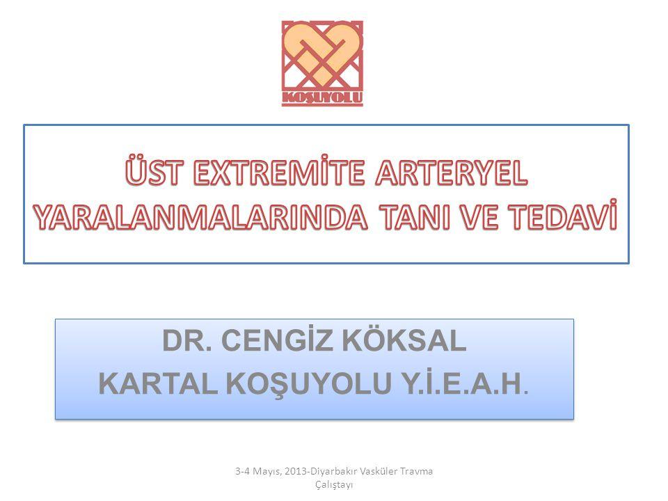 DR. CENGİZ KÖKSAL KARTAL KOŞUYOLU Y.İ.E.A.H. DR. CENGİZ KÖKSAL KARTAL KOŞUYOLU Y.İ.E.A.H. 3-4 Mayıs, 2013-Diyarbakır Vasküler Travma Çalıştayı