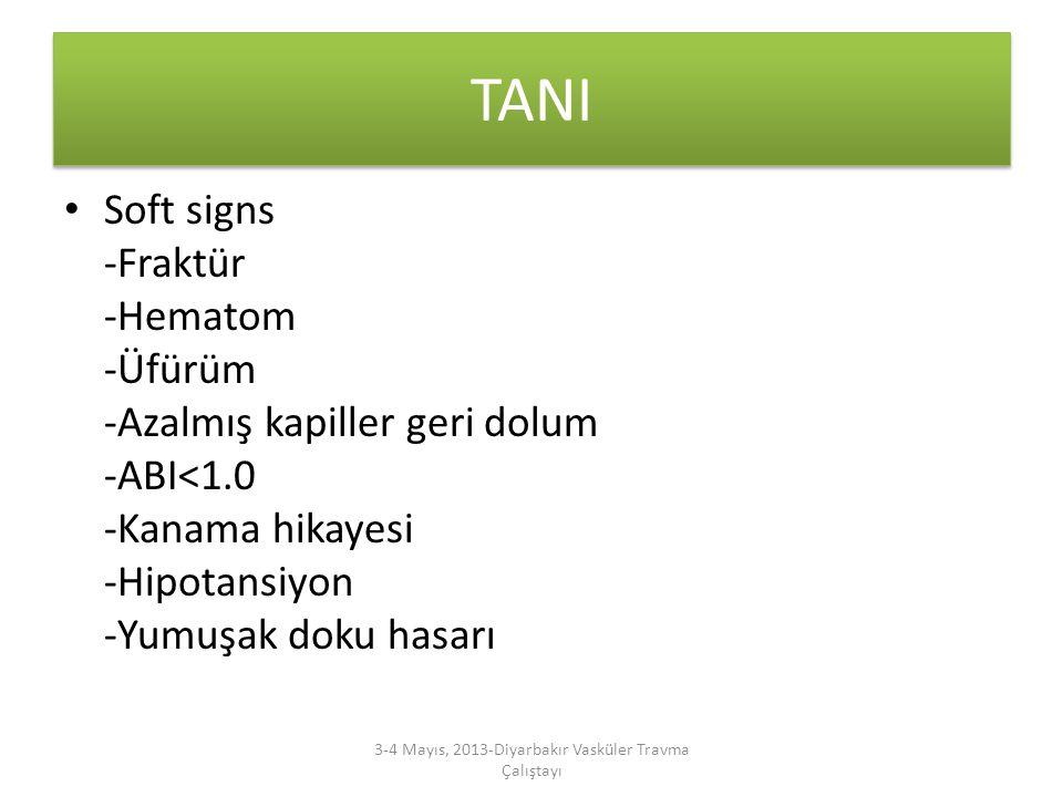 TANI Soft signs -Fraktür -Hematom -Üfürüm -Azalmış kapiller geri dolum -ABI<1.0 -Kanama hikayesi -Hipotansiyon -Yumuşak doku hasarı 3-4 Mayıs, 2013-Di