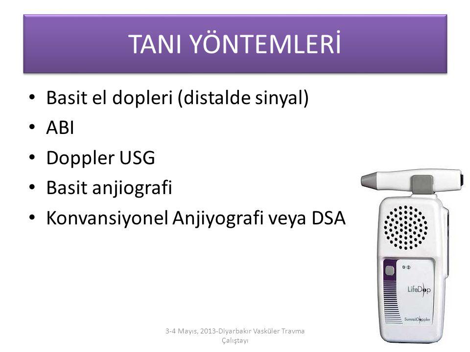 TANI YÖNTEMLERİ Basit el dopleri (distalde sinyal) ABI Doppler USG Basit anjiografi Konvansiyonel Anjiyografi veya DSA 3-4 Mayıs, 2013-Diyarbakır Vask