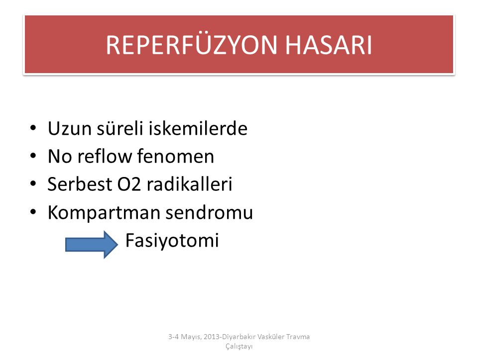 REPERFÜZYON HASARI Uzun süreli iskemilerde No reflow fenomen Serbest O2 radikalleri Kompartman sendromu Fasiyotomi 3-4 Mayıs, 2013-Diyarbakır Vasküler