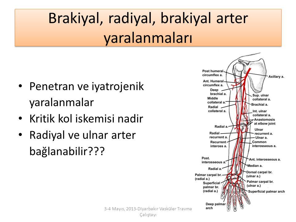 Brakiyal, radiyal, brakiyal arter yaralanmaları Penetran ve iyatrojenik yaralanmalar Kritik kol iskemisi nadir Radiyal ve ulnar arter bağlanabilir???