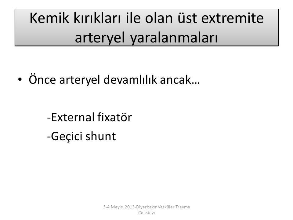 Kemik kırıkları ile olan üst extremite arteryel yaralanmaları Önce arteryel devamlılık ancak… -External fixatör -Geçici shunt 3-4 Mayıs, 2013-Diyarbak