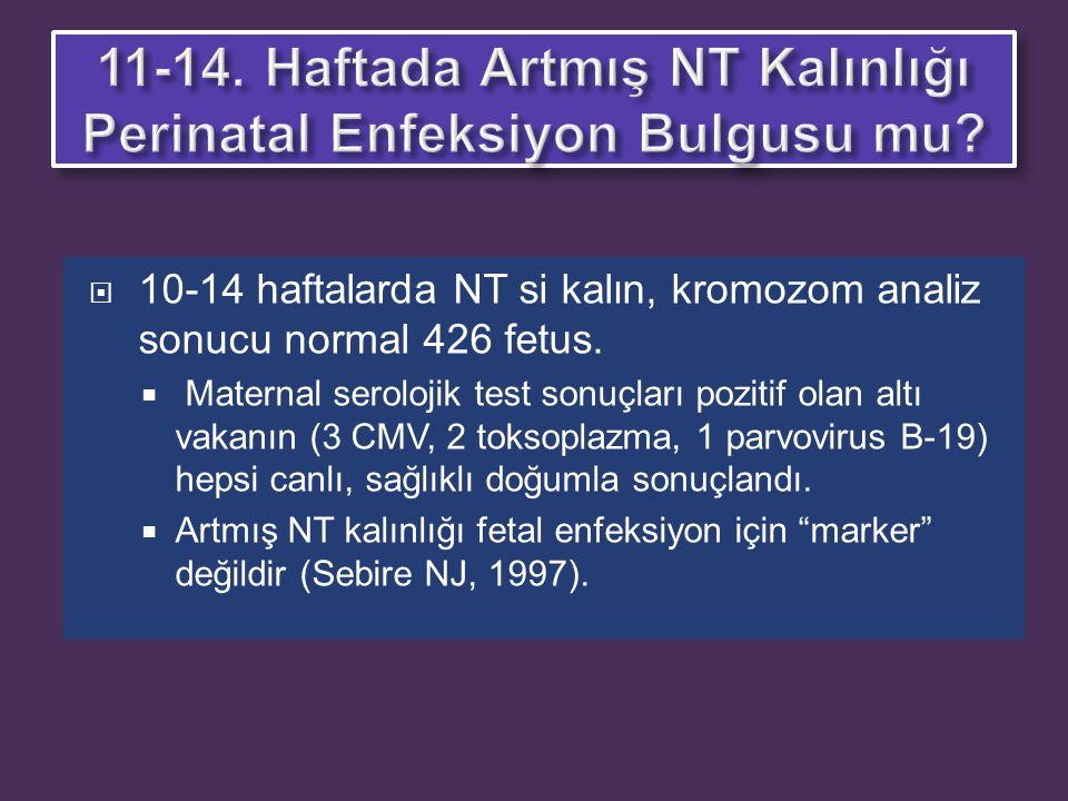  10-14 haftalarda NT si kalın, kromozom analiz sonucu normal 426 fetus.  Maternal serolojik test sonuçları pozitif olan altı vakanın (3 CMV, 2 tokso