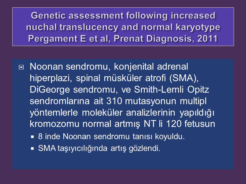  Noonan sendromu, konjenital adrenal hiperplazi, spinal müsküler atrofi (SMA), DiGeorge sendromu, ve Smith-Lemli Opitz sendromlarına ait 310 mutasyon