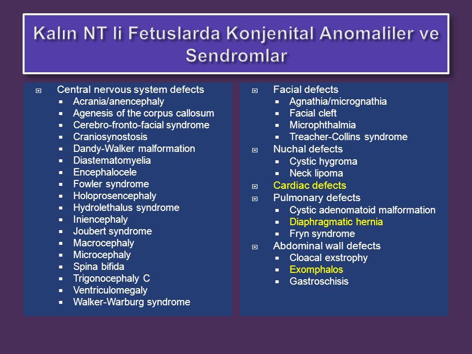  Noonan sendromu, konjenital adrenal hiperplazi, spinal müsküler atrofi (SMA), DiGeorge sendromu, ve Smith-Lemli Opitz sendromlarına ait 310 mutasyonun multipl yöntemlerle moleküler analizlerinin yapıldığı kromozomu normal artmış NT li 120 fetusun  8 inde Noonan sendromu tanısı koyuldu.