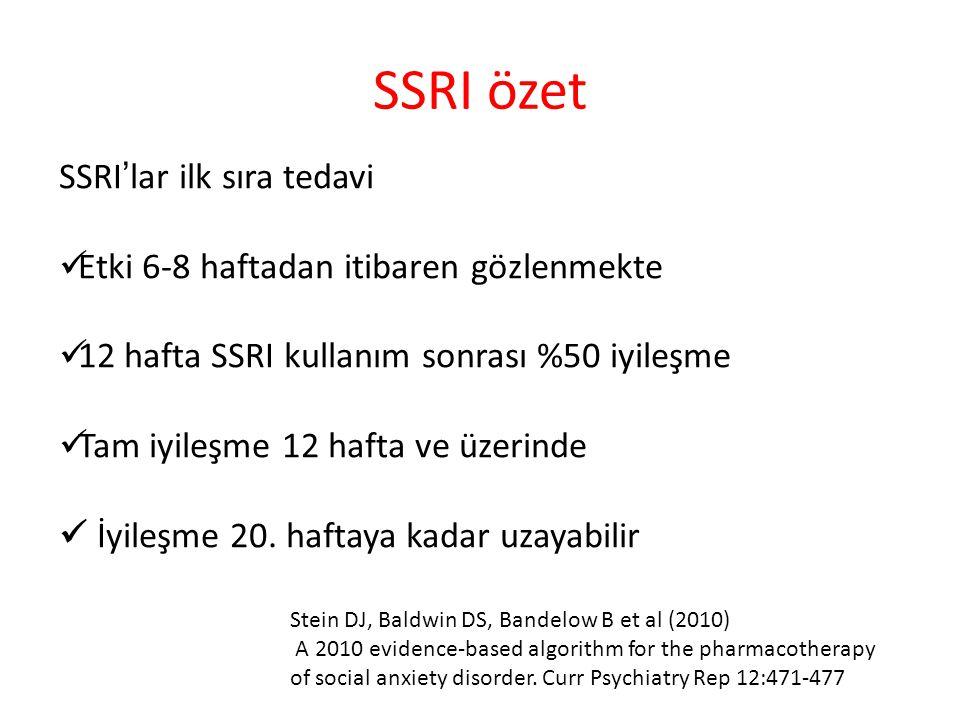 SSRI özet SSRI'lar ilk sıra tedavi Etki 6-8 haftadan itibaren gözlenmekte 12 hafta SSRI kullanım sonrası %50 iyileşme Tam iyileşme 12 hafta ve üzerinde İyileşme 20.
