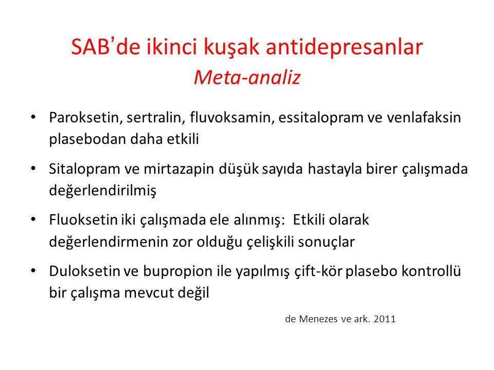 SAB'de ikinci kuşak antidepresanlar Meta-analiz Paroksetin, sertralin, fluvoksamin, essitalopram ve venlafaksin plasebodan daha etkili Sitalopram ve m