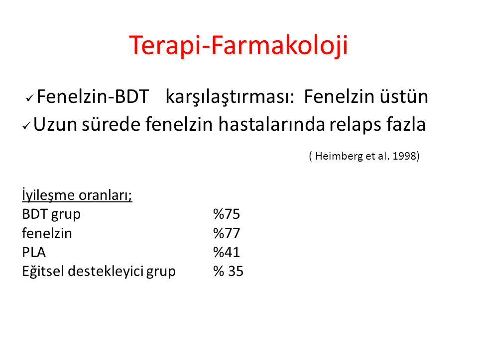 Terapi-Farmakoloji Fenelzin-BDTkarşılaştırması: Fenelzin üstün Uzun sürede fenelzin hastalarında relaps fazla ( Heimberg et al.