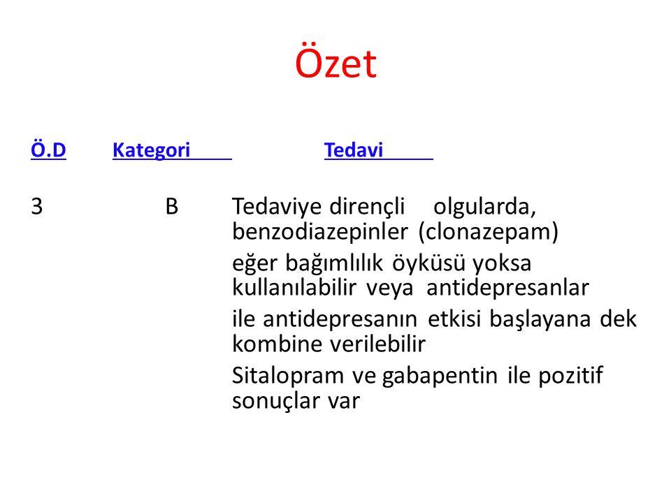 Ö.D Kategori Tedavi 3BTedaviye dirençliolgularda, benzodiazepinler (clonazepam) eğer bağımlılık öyküsü yoksa kullanılabilir veya antidepresanlar ile a