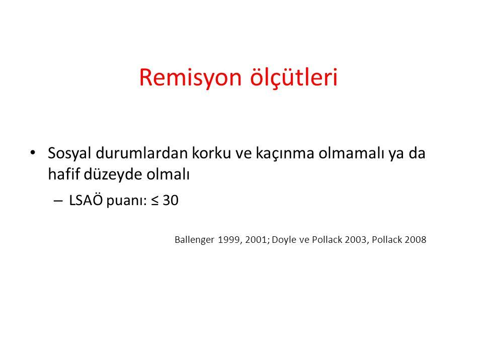 Remisyon ölçütleri Sosyal durumlardan korku ve kaçınma olmamalı ya da hafif düzeyde olmalı – LSAÖ puanı: ≤ 30 Ballenger 1999, 2001; Doyle ve Pollack 2