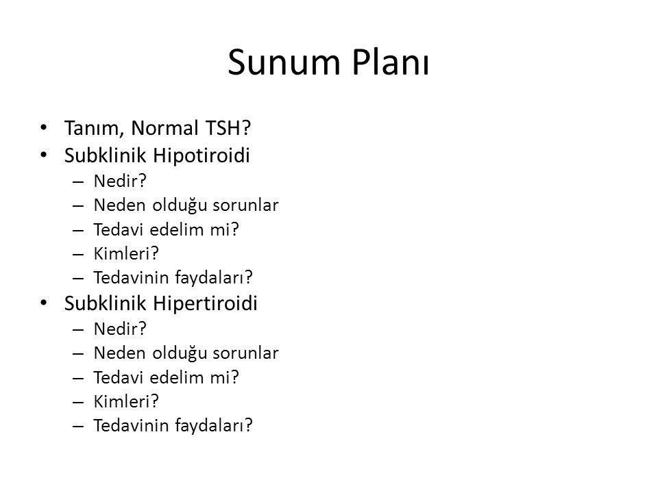Sunum Planı Tanım, Normal TSH? Subklinik Hipotiroidi – Nedir? – Neden olduğu sorunlar – Tedavi edelim mi? – Kimleri? – Tedavinin faydaları? Subklinik