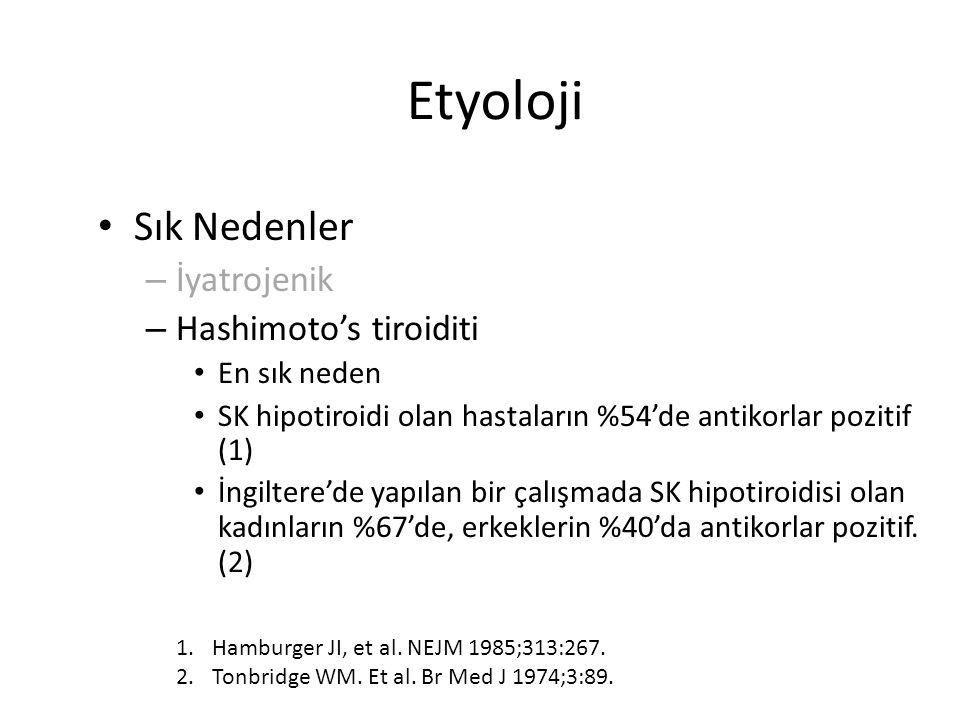 Etyoloji Sık Nedenler – İyatrojenik – Hashimoto's tiroiditi En sık neden SK hipotiroidi olan hastaların %54'de antikorlar pozitif (1) İngiltere'de yap